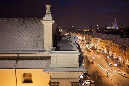 krakowskie przedmiescie: Poland, capital city of , St. Anne Church and Krakowskie Przedmiescie street by night from above