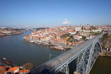 luis: Porto historic city centre with Ponte Luis I Bridge over Douro river in Portugal. Editorial