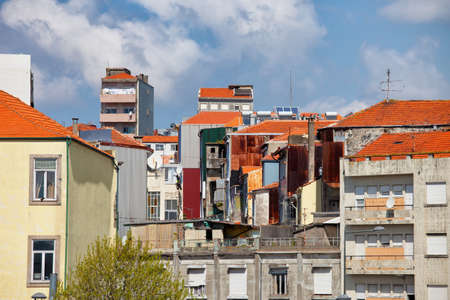 residential houses: Aged houses, apartment blocks, residential architecture in city of Porto, Portugal. Editorial