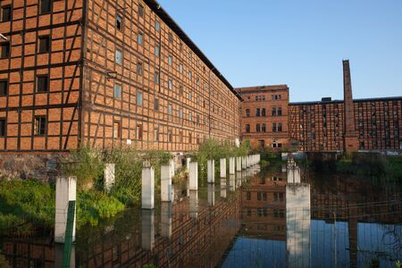 building structures: Rothers Mills and pond on Mill Island in city of Bydgoszcz, Poland. Editorial