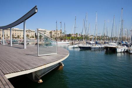 rambla: Rambla de Mar boardwalk promenade and Port Vell marina in Barcelona, Catalonia, Spain.