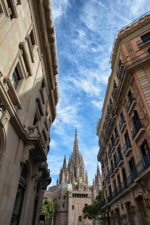 tenement: Historic tenement houses and cathedral at the far end in Barcelona, Catalonia, Spain.