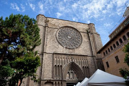 14th century: Basilica of Santa Maria del Pi in Barcelona, Catalonia, Spain, 14th century Catalan Gothic style architecture. Editorial