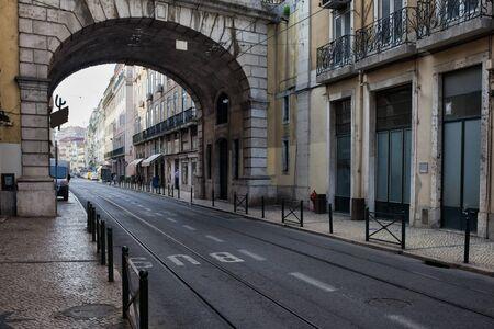 tramline: Viaduct over Rua de S. Paulo street with tramline, city of Lisbon, Portugal Stock Photo