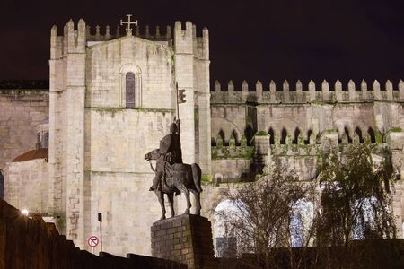 romanesque: Porto Cathedral by night in Portugal, 12th century Romanesque and Baroque architecture.