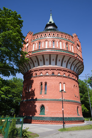 neo gothic: The Water Tower in Bydgoszcz, Poland, historic city landmark and viewpoint, Neo-Gothic architecture.