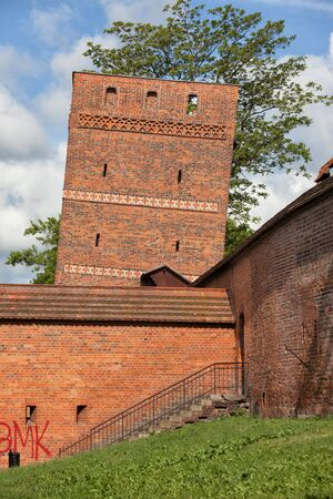 14th century: The Leaning Tower in Torun, Poland, part of the medieval city wall fortification from 14th century.