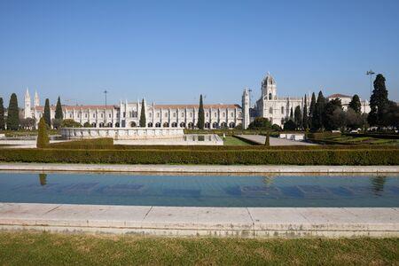 belem: Garden Praca do Imperio and Jeronimos Monastery in Lisbon, Portugal, Belem District.