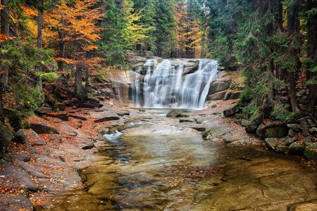 alp: Mumlava waterfall in autumn forest of Giant Mountains (Krkonose, Karkonosze), Czech Republic. Stock Photo