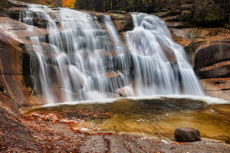 karkonosze: Mumlava waterfall in autumn, Giant Mountains (Krkonose, Karkonosze), Czech Republic. Stock Photo