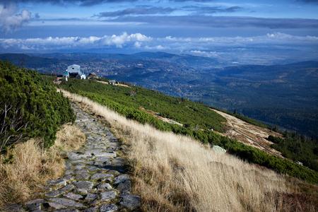 Karkonosze mountains landscape with rocky footpath, Sudetes, Poland.