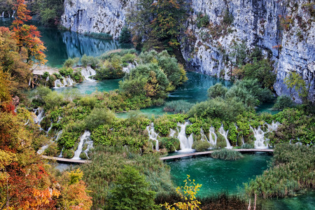 lake: Plitvice Lakes National Park landscape in Croatia.