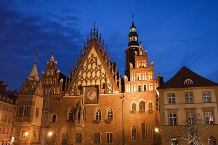 stary: City of Wroclaw in Poland, Old Town Hall (Polish: Stary Ratusz) at night, Gothic style architecture.