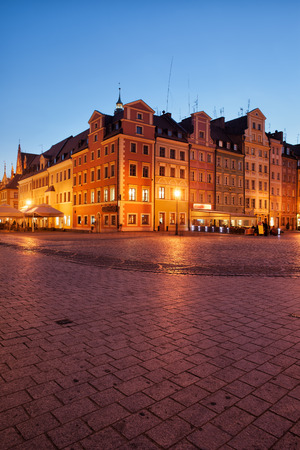 tenement: City of Wroclaw in Poland, Old Town Market Square at night, historic tenement houses