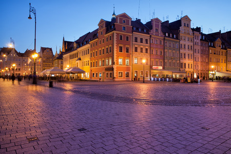 cobbled: City of Wroclaw in Poland, Old Town Market Square in the evening Stock Photo