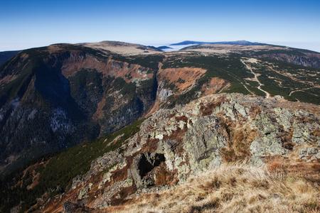 czech republic: Poland and Czech Republic border, Sudetes (Sudeten), Karkonosze Mountains landscape Stock Photo