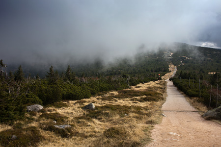 Poland and Czech Republic border, Sudetes, Karkonosze Mountains, mountain trail footpath with low hanging clouds