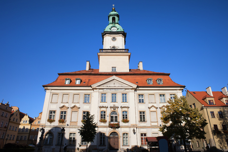 18th: Town Hall building, city landmark in Jelenia Gora, Poland, Classical architecture from 18th century.