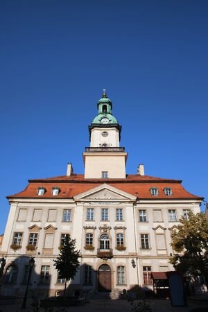 18th: Town Hall building, city landmark in Jelenia Gora, Poland, Classical look architecture from 18th century. Stock Photo