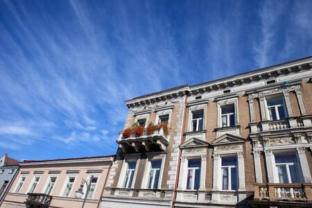 ornamentation: City of Radom in Poland, historic tenement houses in the Old Town with classical ornamentation on building facade