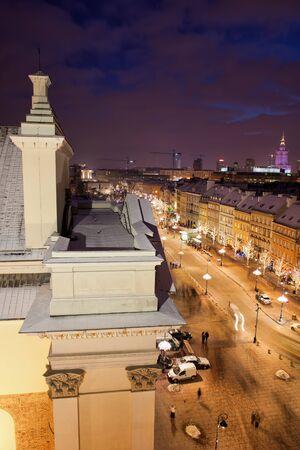 krakowskie przedmiescie: Poland, city of Warsaw, St. Anne Church and Krakowskie Przedmiescie street by night