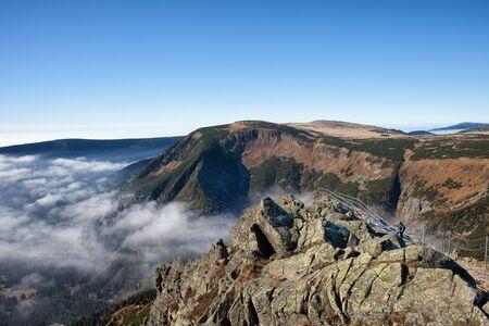 krkonose: Poland and Czech Republic border, Sudetes, Karkonosze Mountains landscape, view from Sniezka Mountain Stock Photo