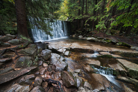 karkonosze: Wild Waterfall in beautiful scenery of Karkonosze Mountains in Karpacz, Poland