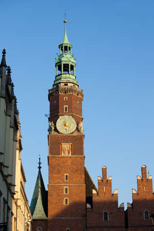 historical landmark: Poland, city of Wroclaw, Clock Tower of the Town Hall in the Old Town