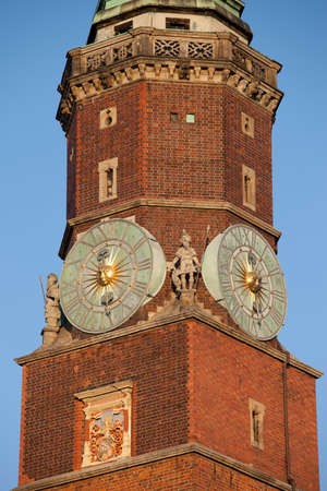 bourgeois: Poland, city of Wroclaw, Old Town, Clock Tower close-up of the Town Hall, architectural detail Stock Photo