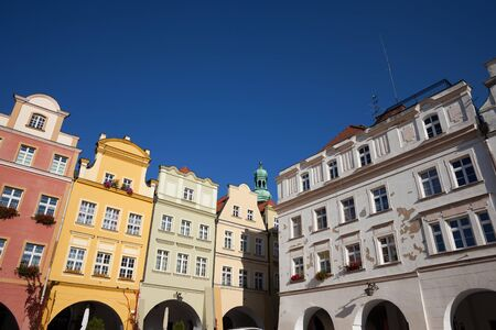 Poland, Lower Silesia, Jelenia Gora, tenement houses with gables in the Old Town, historic city centre