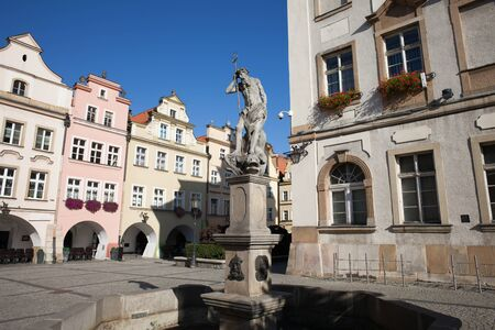 gabled house: Poland, Lower Silesia, Jelenia Gora, fountain with Neptune God of the Sea sculpture from 18th century on Old Town Square