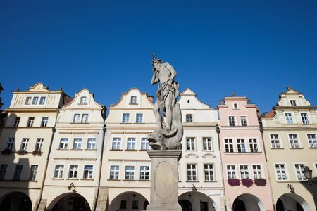 gables: Poland, Lower Silesia, Jelenia Gora, Old Town, Neptune God of the Sea sculpture from 18th century, historic tenement houses with gables