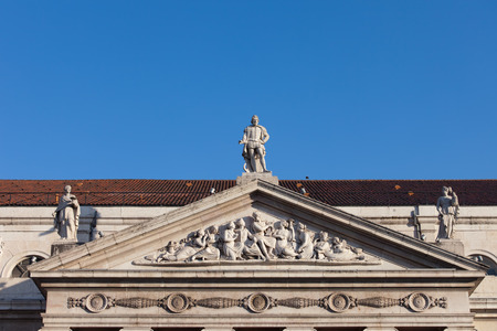 pediment: Pediment of Dona Maria II National Theater in Lisbon, 19th century Neoclassical style.