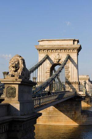 szechenyi: Szechenyi Lanchid Chain Bridge on Danube river in Budapest, Hungary
