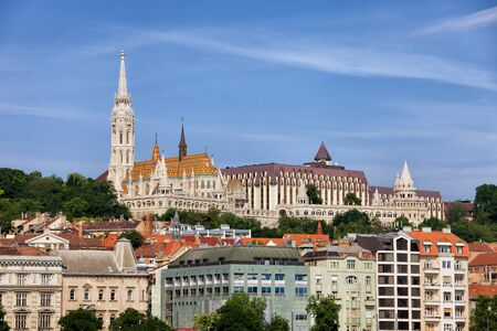 fisherman bastion: Hungary, city of Budapest, Buda Hill cityscape, skyline, on a hill Matthias Church and Fisherman Bastion