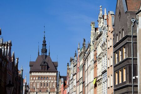 house gables: Poland, city of Gdansk, Old Town skyline, Prison Tower and historic tenement houses with gables Stock Photo