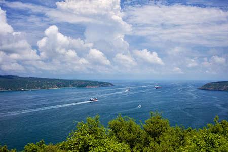 enters: Bosphorus Strait enters Black Sea, Turkey Stock Photo