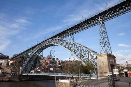 hinged: Dom Luis I Bridge over Douro river between Porto and Gaia in Portugal