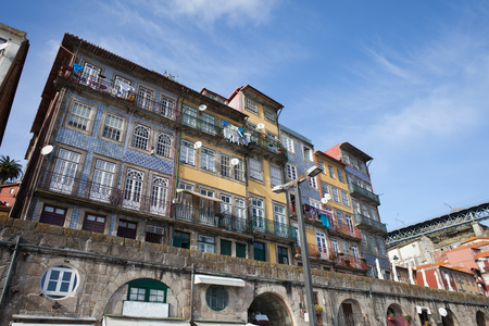 town houses: Traditional Portuguese houses, apartment buildings, Old Town, city of Porto, Portugal