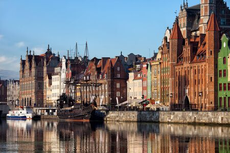 gdansk: City of Gdansk in Poland, Old Town skyline from Motlawa River Stock Photo