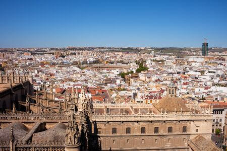 urban landscapes: Seville cityscape in Andalusia, Spain, view over historic city centre from the Cathedral
