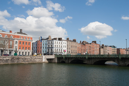liffey: City of Dublin skyline in Ireland, Grattan Bridge on River Liffey, cityscape