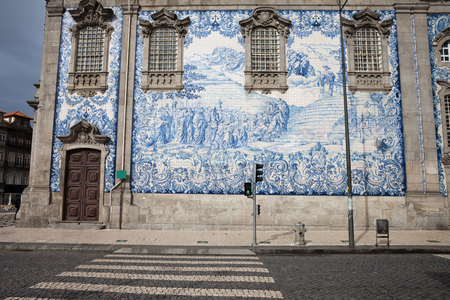 carmo: Portugal, city of Porto (Oporto), tiled wall of 18th century Carmo Church, panel of blue and white Portuguese azulejo tiles