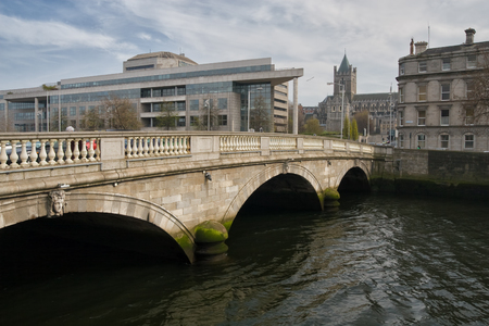 liffey: City of Dublin in Ireland, ODonovan Rossa Bridge on River Liffey