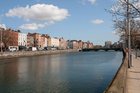 liffey: City of Dublin skyline in Ireland, River Liffey, cityscape Stock Photo