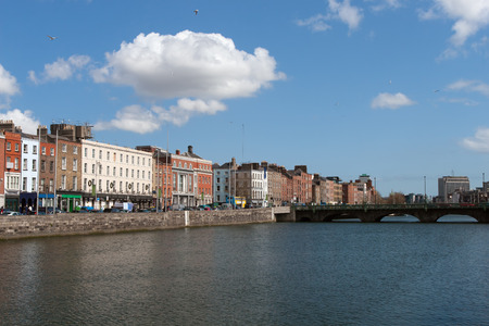 liffey: City of Dublin skyline in Ireland, view from River Liffey, cityscape Stock Photo