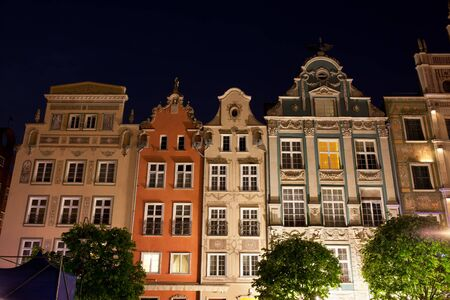 Poland, city of Gdansk, Old Town, gabled tenement houses at night