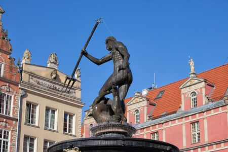 gdansk: Poland, Gdansk, Old Town, Neptune Fountain, bronze statue of the Roman God of the Sea, city landmark