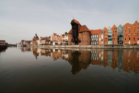 tenement buildings: Poland, Pomerania, Gdansk, Old Town skyline, Motlawa River, historic city centre