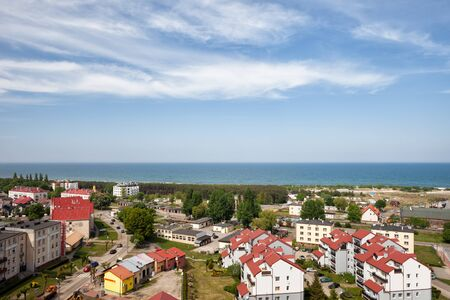 townscape: Resort town of Wladyslawowo in Poland at Baltic Sea, townscape, cityscape from above, Pomerania, Kashubia region. Stock Photo